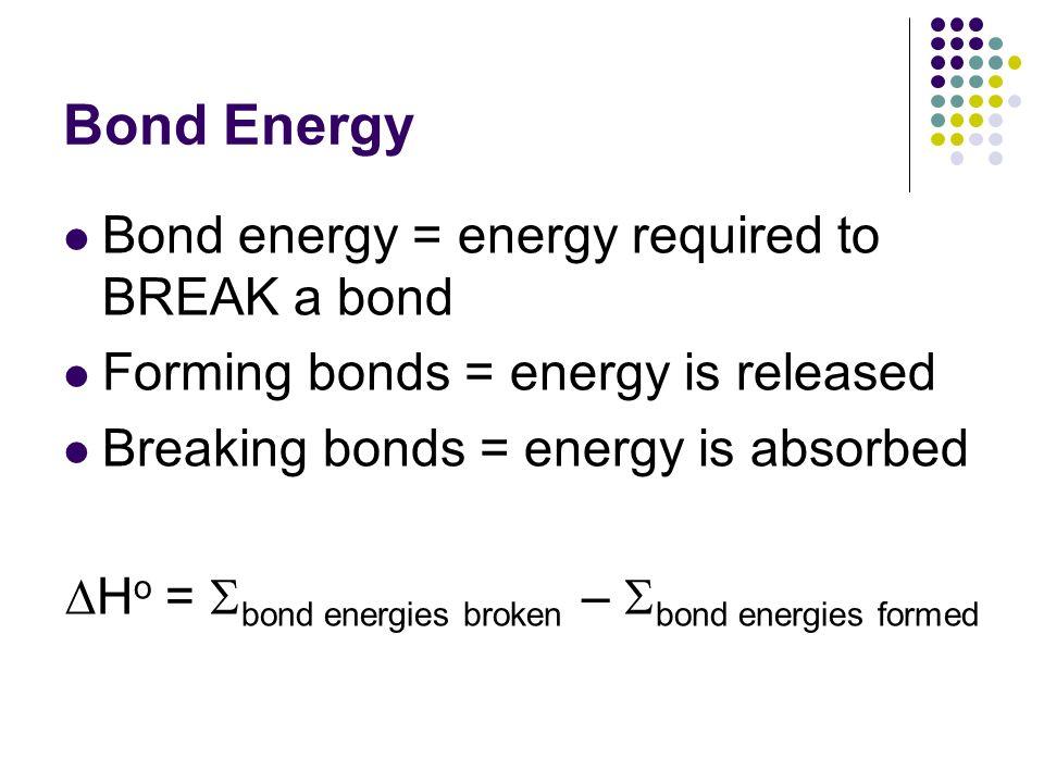 DHo = bond energies broken – bond energies formed