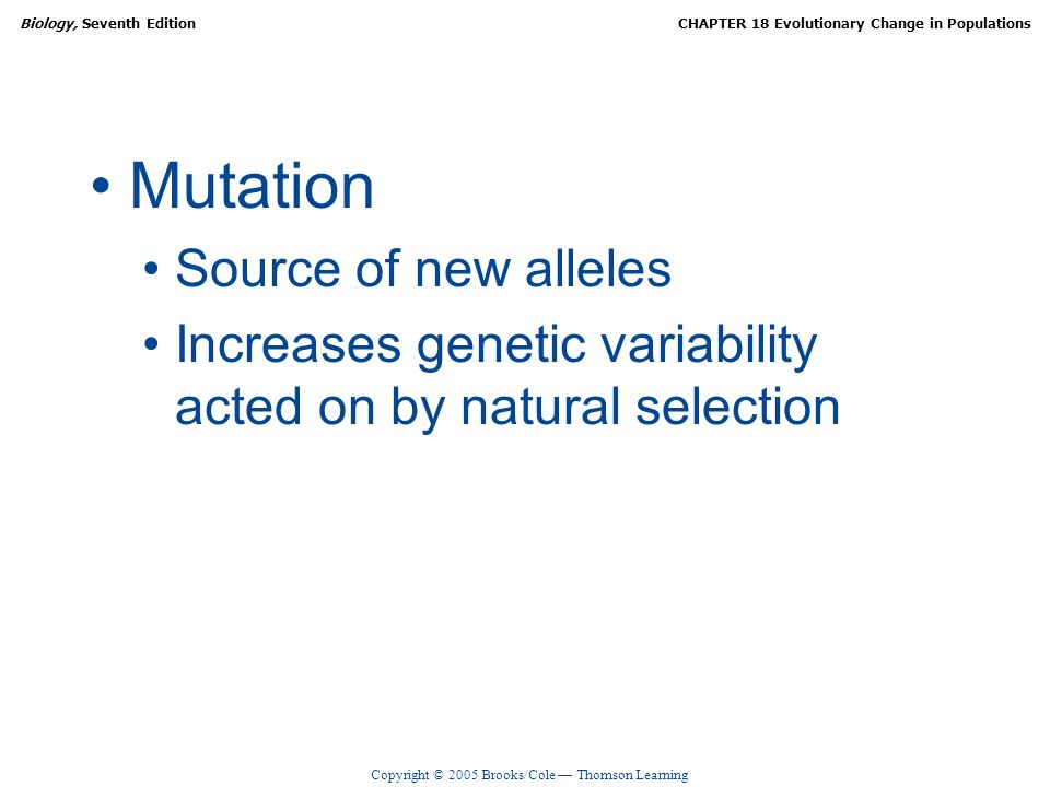 Mutation Source of new alleles