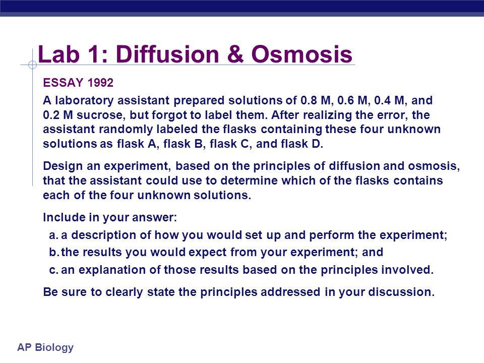 ap biology lab 1 osmosis and diffusion essay