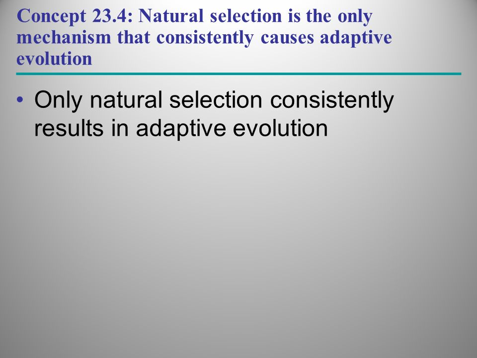 Only natural selection consistently results in adaptive evolution
