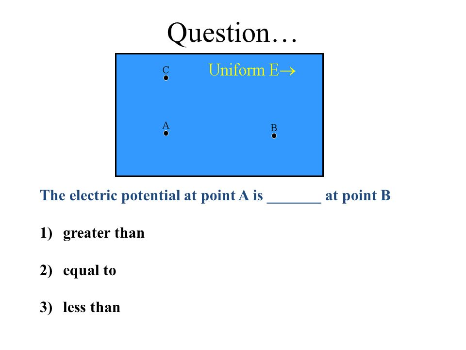 Question… The electric potential at point A is _______ at point B