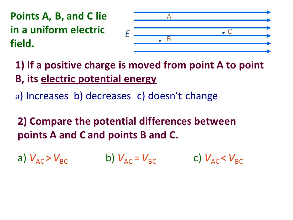 Points A, B, and C lie in a uniform electric field.