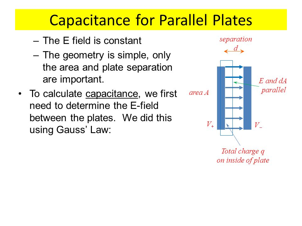 Capacitance for Parallel Plates