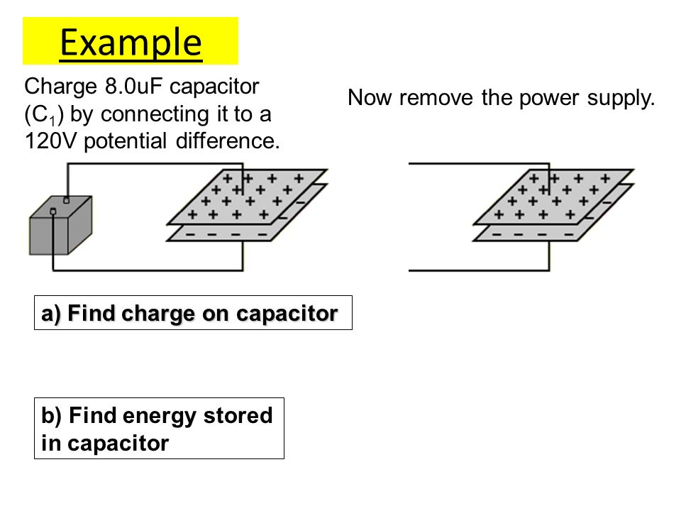 Example Charge 8.0uF capacitor (C1) by connecting it to a 120V potential difference. Now remove the power supply.
