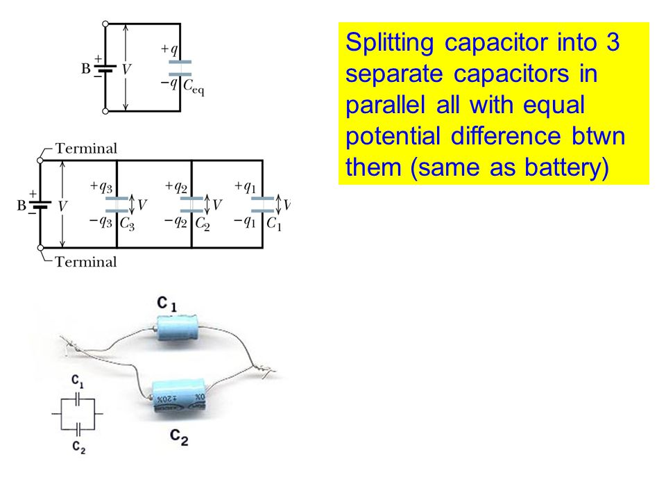 Splitting capacitor into 3 separate capacitors in parallel all with equal potential difference btwn them (same as battery)