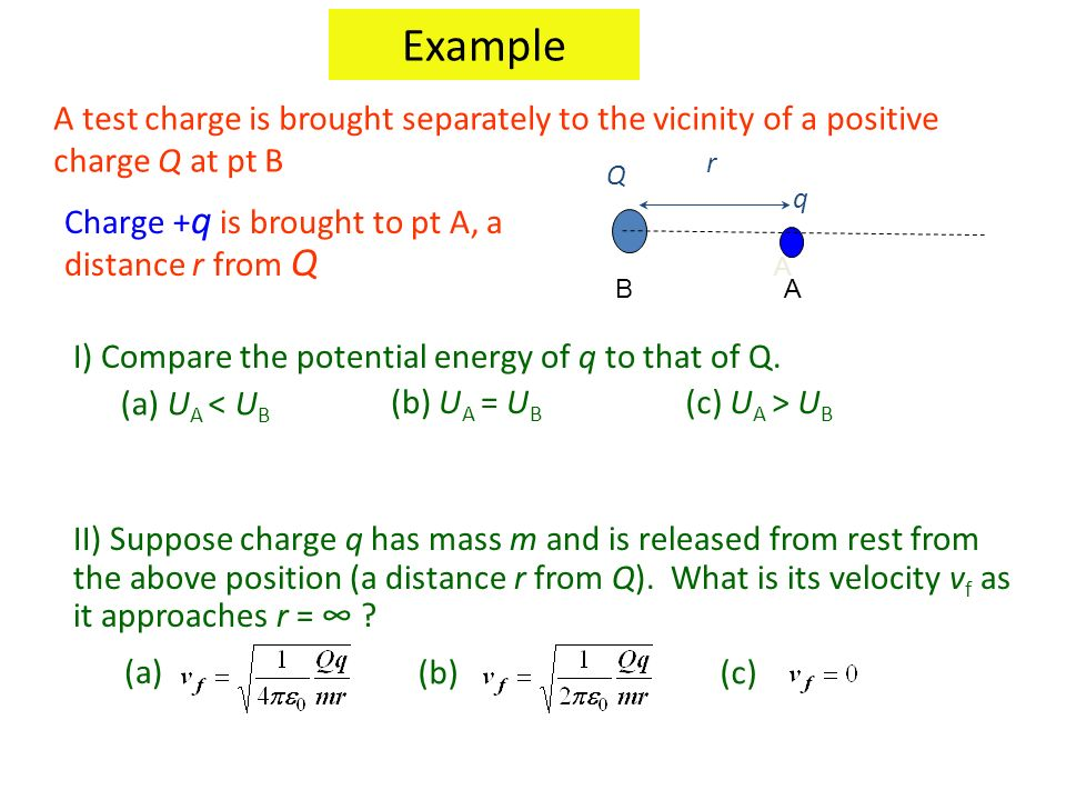 Example A test charge is brought separately to the vicinity of a positive charge Q at pt B. A. q.