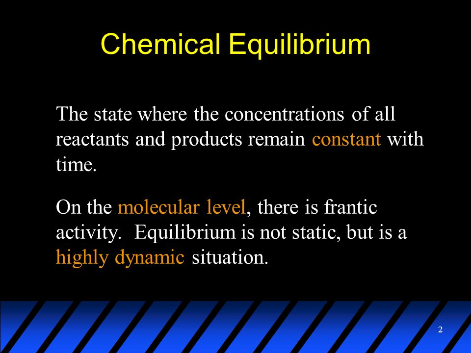 Chemical EquilibriumThe state where the concentrations of all reactants and products remain constant with time.