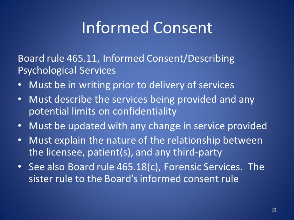 Informed Consent Board rule 465.11, Informed Consent/Describing Psychological Services. Must be in writing prior to delivery of services.