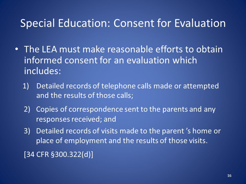 Special Education: Consent for Evaluation
