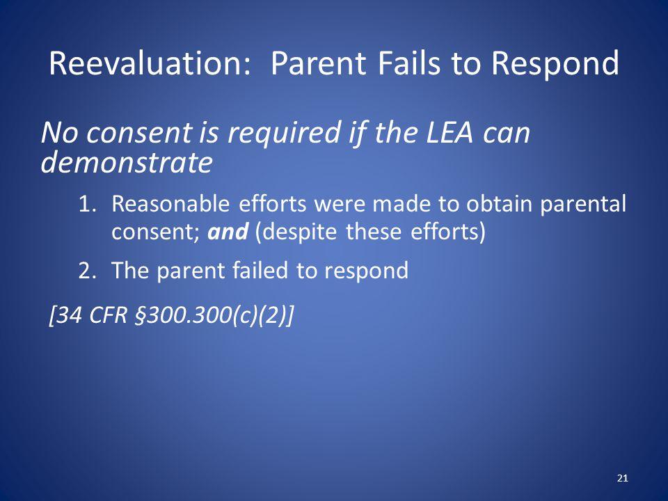 Reevaluation: Parent Fails to Respond