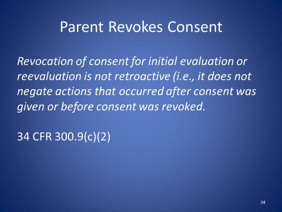 Parent Revokes Consent