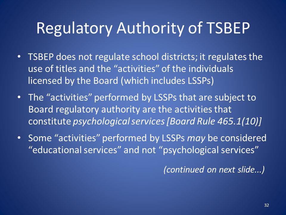 Regulatory Authority of TSBEP