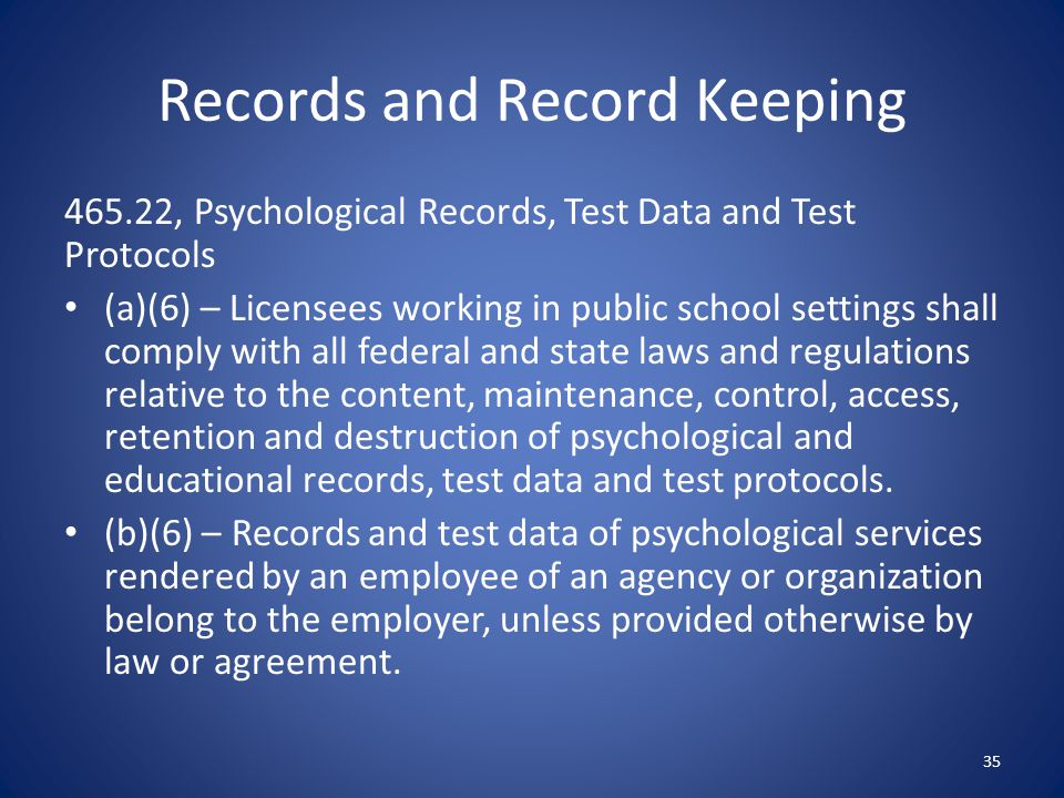 Records and Record Keeping