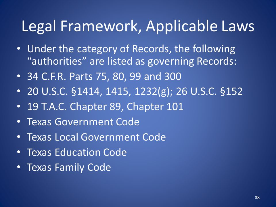Legal Framework, Applicable Laws
