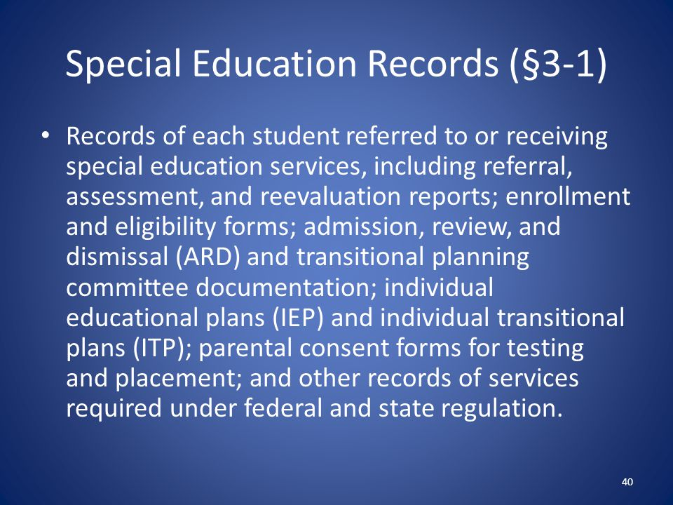 Special Education Records (§3-1)