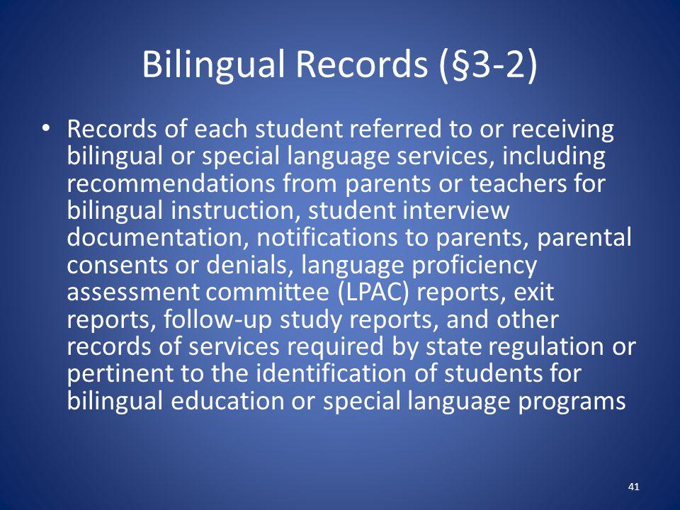 Bilingual Records (§3-2)