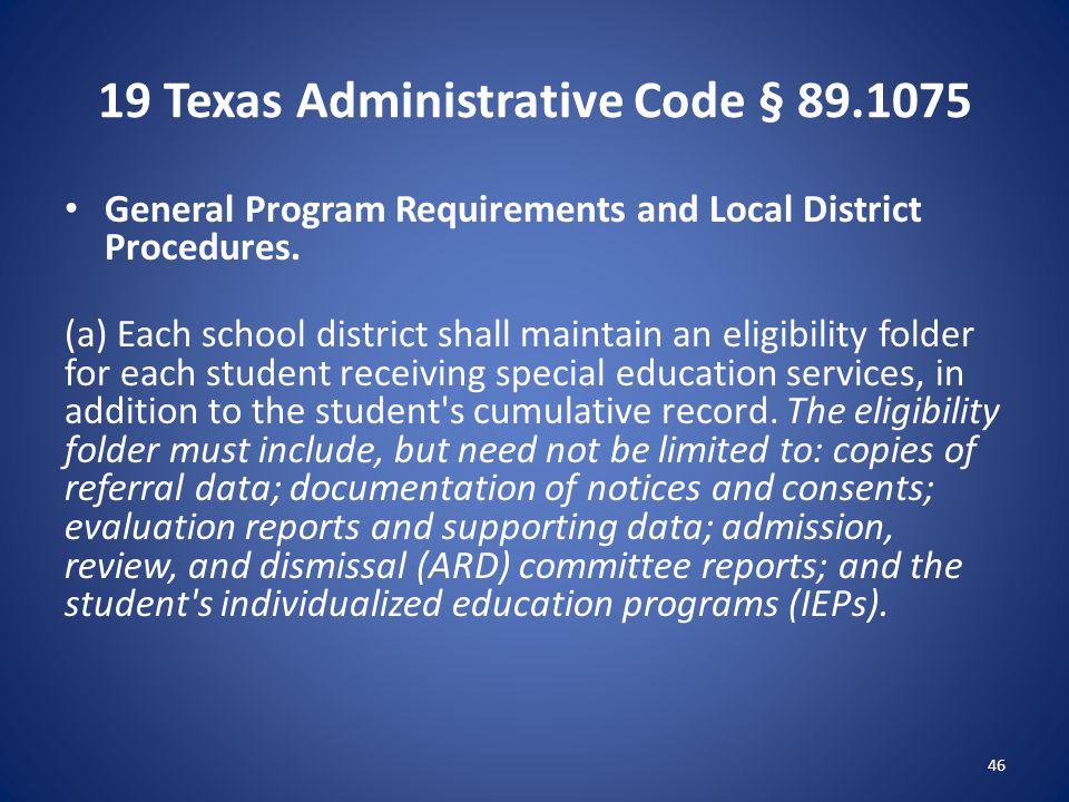 19 Texas Administrative Code § 89.1075