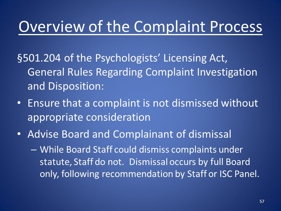 Overview of the Complaint Process