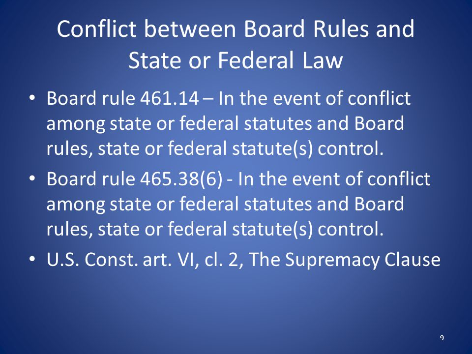 Conflict between Board Rules and State or Federal Law
