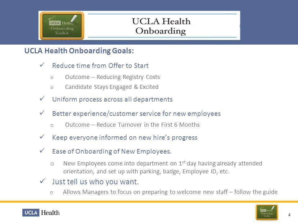 UCLA Health Onboarding Goals:
