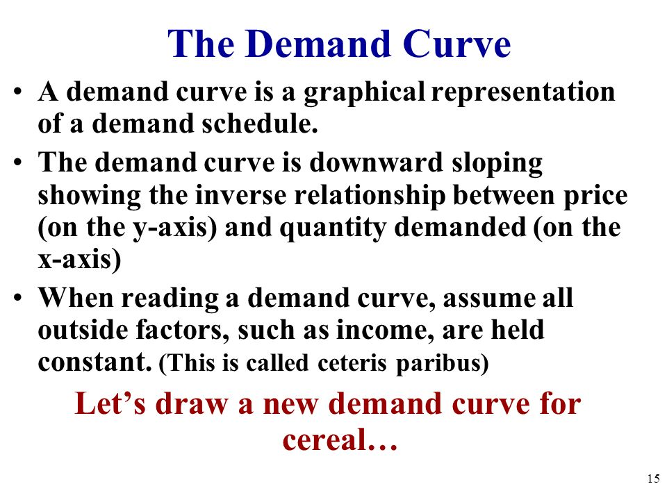 Let's draw a new demand curve for cereal…