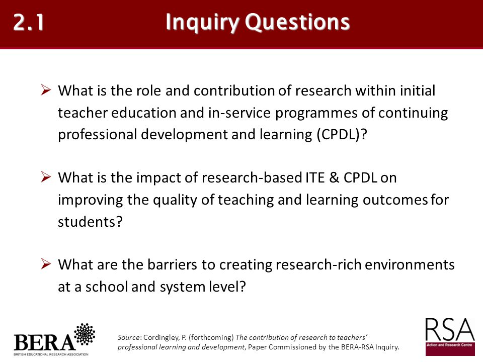 2.1 Inquiry Questions.