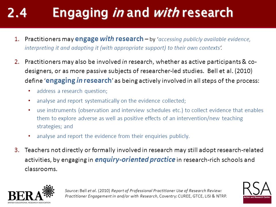 Engaging in and with research