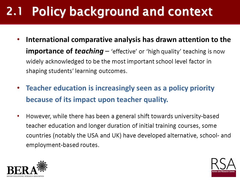 Policy background and context