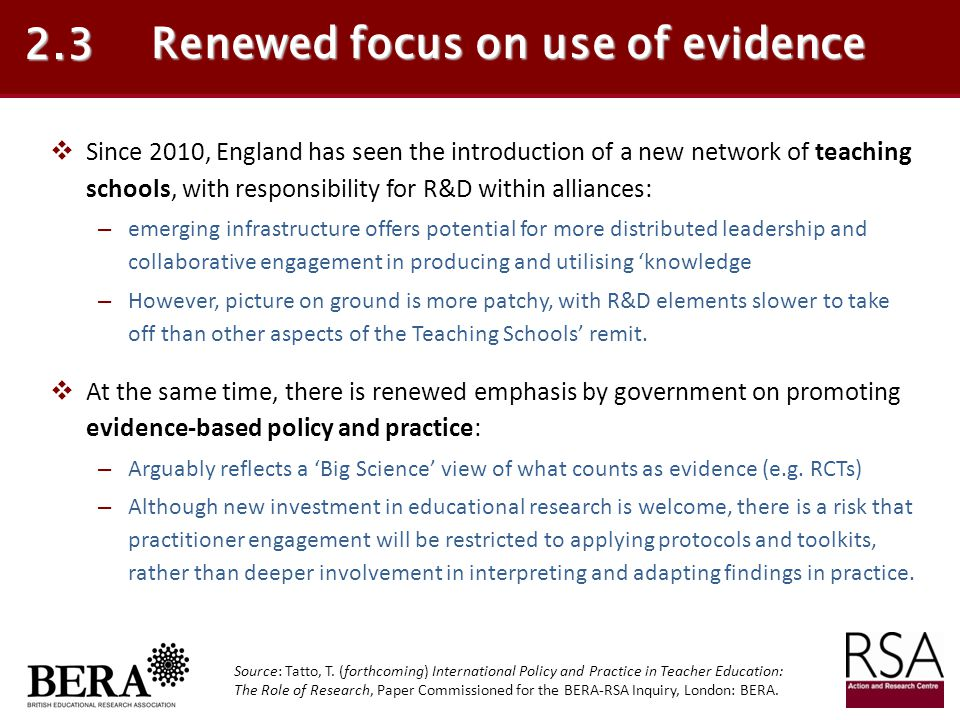 Renewed focus on use of evidence