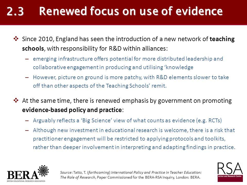 Renewed focus on use of evidence