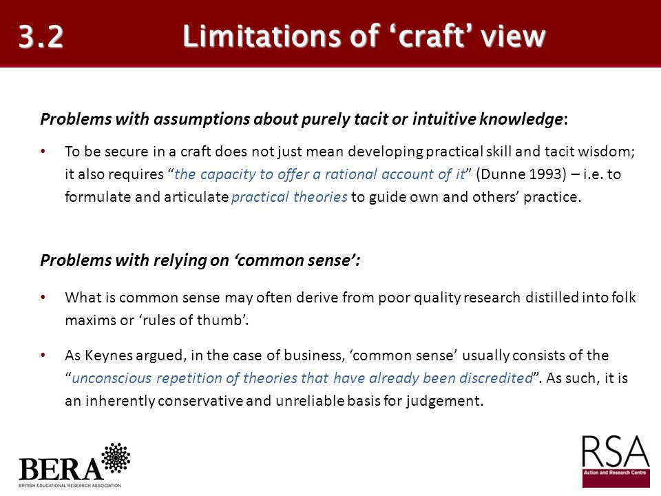 Limitations of 'craft' view