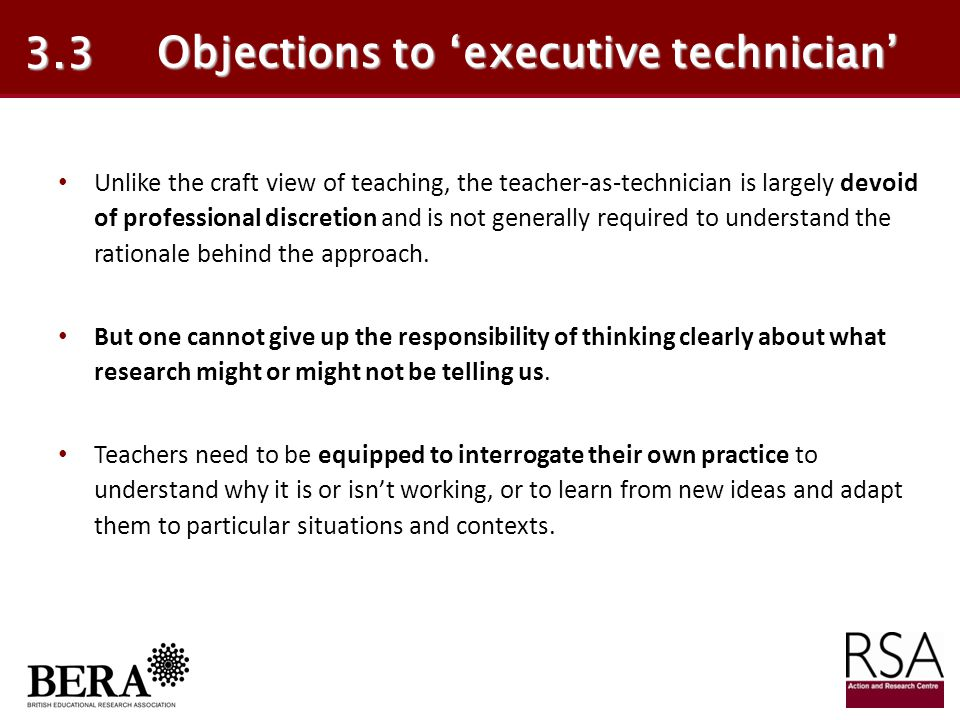Objections to 'executive technician'