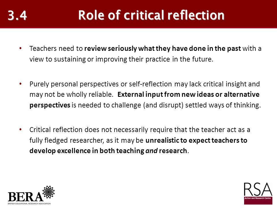 Role of critical reflection