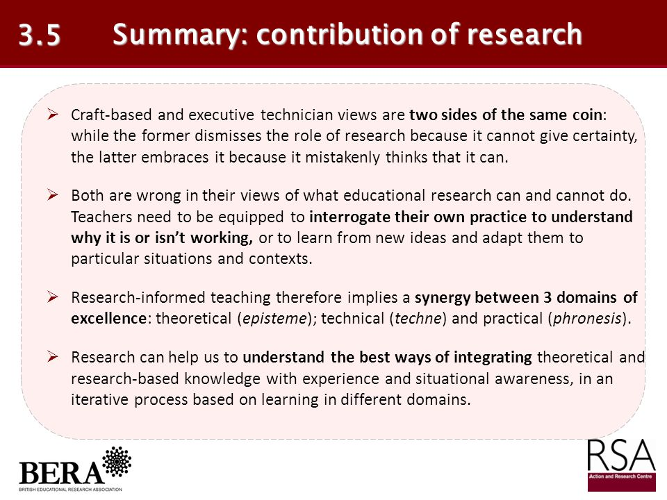 Summary: contribution of research
