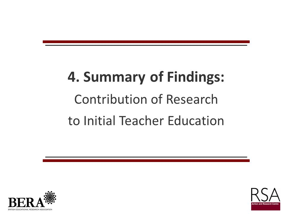 4. Summary of Findings: Contribution of Research to Initial Teacher Education