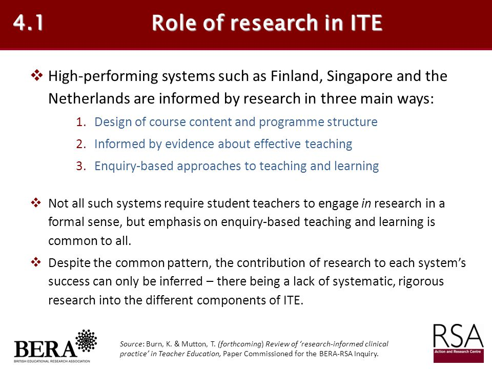 4.1 Role of research in ITE. High-performing systems such as Finland, Singapore and the Netherlands are informed by research in three main ways:
