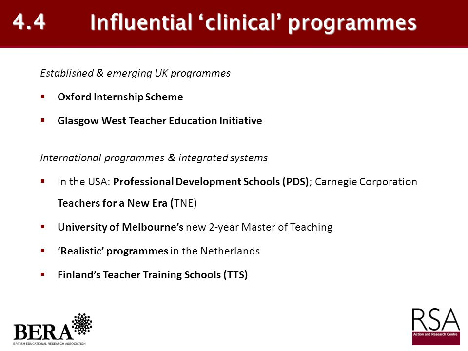 Influential 'clinical' programmes