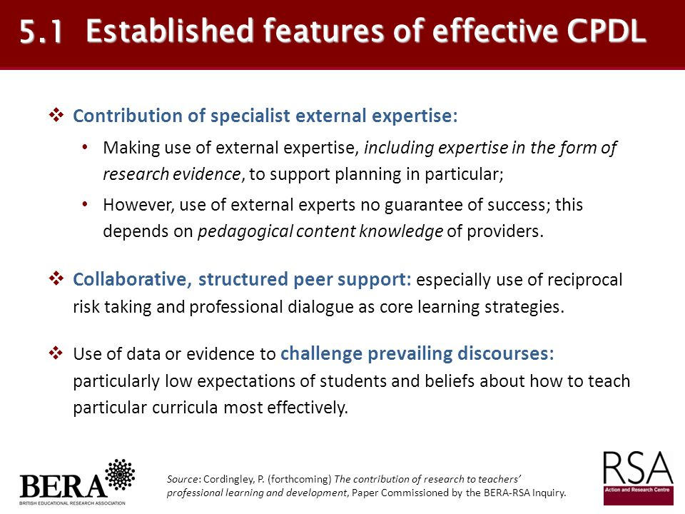 Established features of effective CPDL