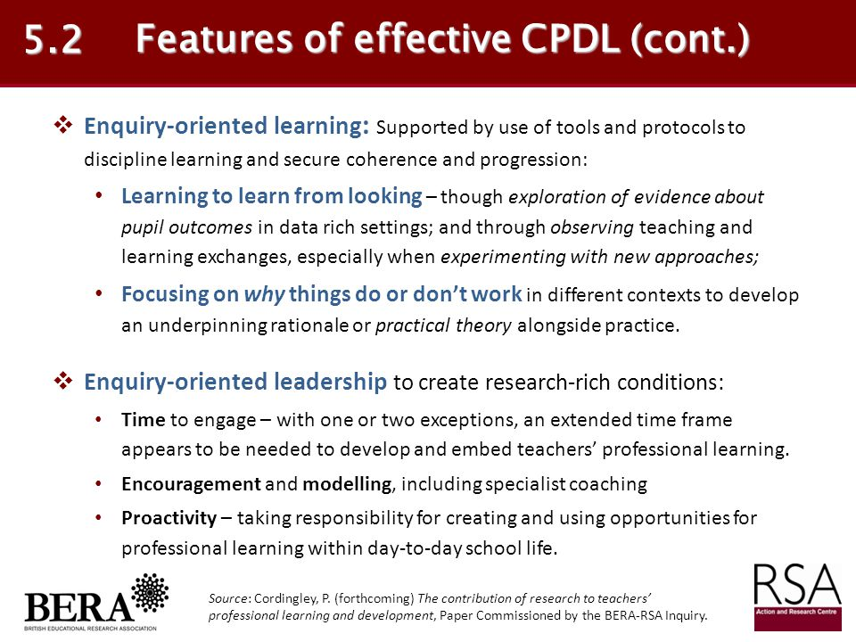 Features of effective CPDL (cont.)