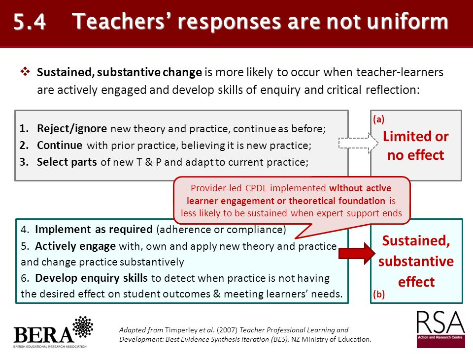 Teachers' responses are not uniform Sustained, substantive effect