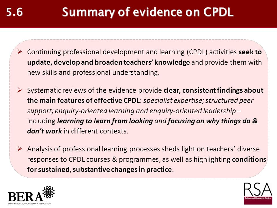Summary of evidence on CPDL