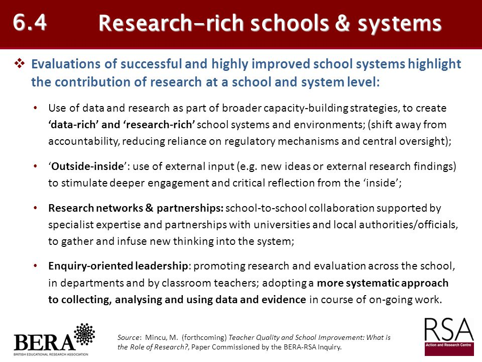 Research-rich schools & systems