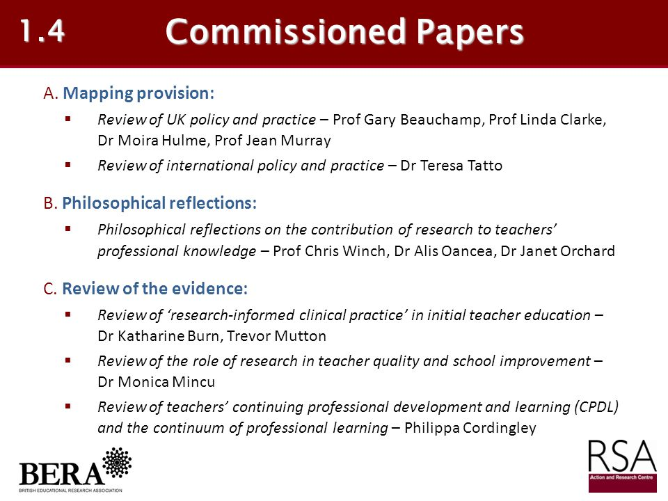 Commissioned Papers 1.4 A. Mapping provision: