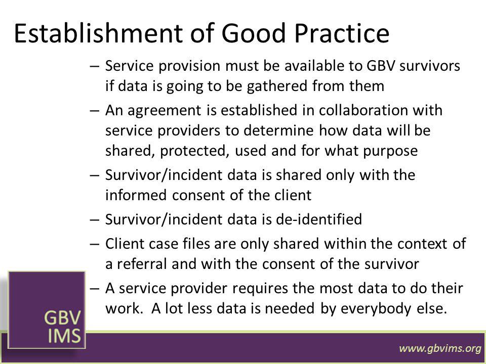 Establishment of Good Practice