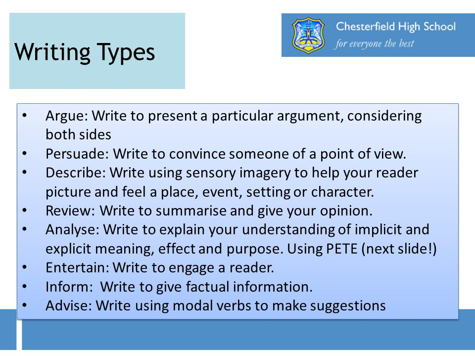 Writing Types Argue: Write to present a particular argument, considering both sides. Persuade: Write to convince someone of a point of view.