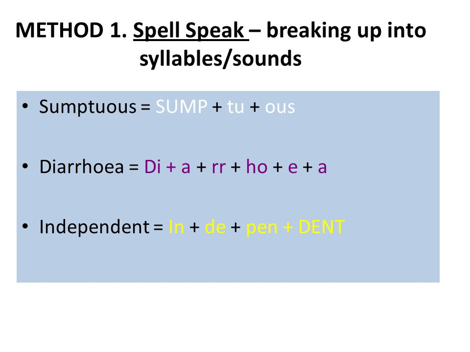 METHOD 1. Spell Speak – breaking up into syllables/sounds