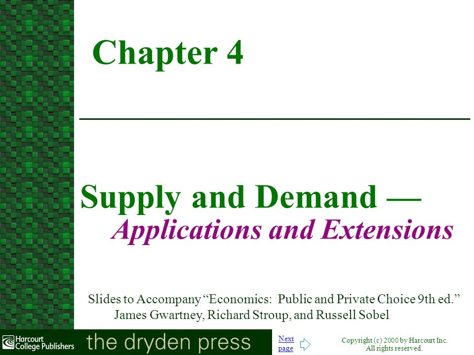 Supply and Demand — Applications and Extensions