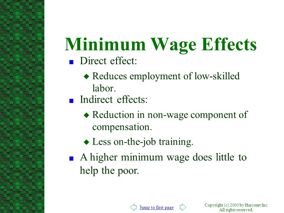 Minimum Wage Effects Direct effect: Indirect effects:
