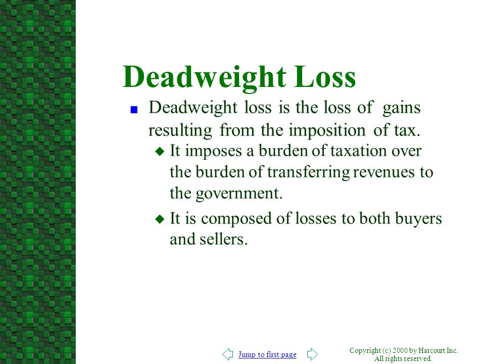 Deadweight Loss Deadweight loss is the loss of gains resulting from the imposition of tax.