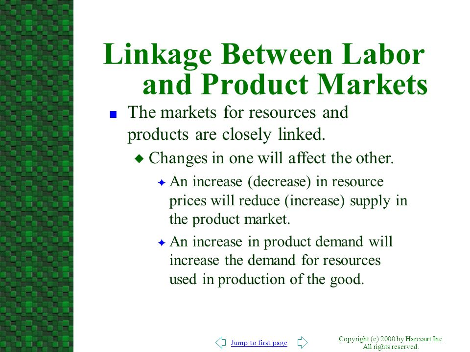 Linkage Between Labor and Product Markets